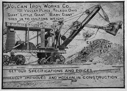 Ad for Electric and Steam Shovels, Vulcan Iron Works, Toledo OH, 1905